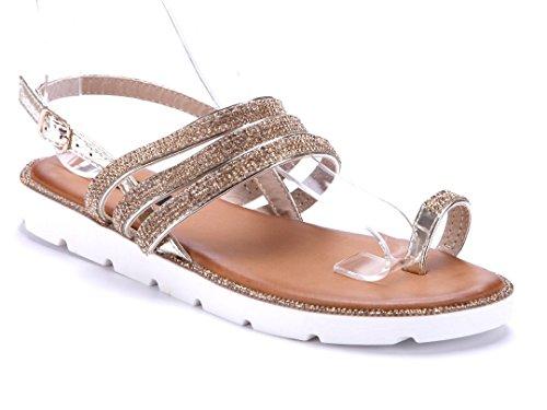 42c9e127d0f11f Schuhtempel24 Damen Schuhe Zehentrenner Sandalen Sandaletten Flach  Ziersteine Gold
