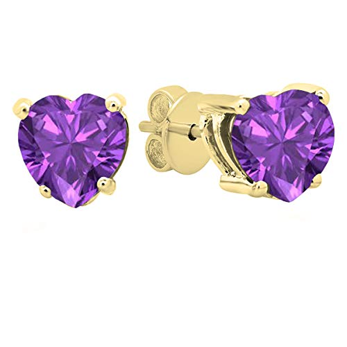 Dazzlingrock Collection 18K 5 MM Each Heart Amethyst Ladies Stud Earrings, Yellow Gold