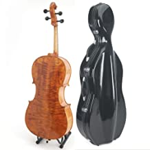 Cecilio CCO-600 Ebony Fitted Hand Oil Rubbed Highly Flamed Solid Wood Cello, Size 4/4 (Full Size)