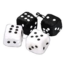 Allures & Illusions Fuzzy Dice - 4 Hanging Dice - 2 Sets of 2, White and Black
