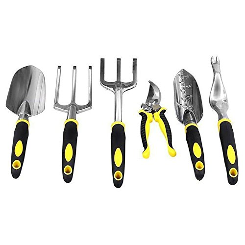 SODIAL 6PCS/t Gardening Tool t for Digging Planting Gardening Kit with Heavy Duty Cast-aluminum Heads & Ergonomic Handles