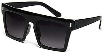 Tantino Flat Top Sunglasses Retro Designer Square Gradient Lens Black Frame