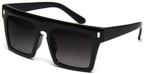 Tantino Flat Top Sunglasses Retro Designer Square Gradient Lens Black - Flat Sunglasses Frame