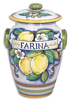 Hand Painted Bianco Fresco Farina Canister - Handmade in Deruta by Italian Pottery Outlet