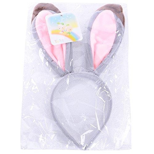 TFJH E Kids Girls Gray Bunny Ears Lovely Fox Ears Elk Antlers Headband Rabbit Cozy by TFJH E (Image #4)