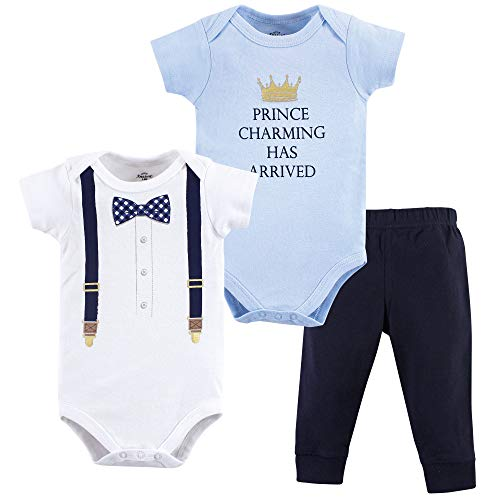 Hudson Baby Little Treasure Unisex Baby Bodysuit and Pant, Prince Charming 3 Piece Set, 12-18 Months (18M) -