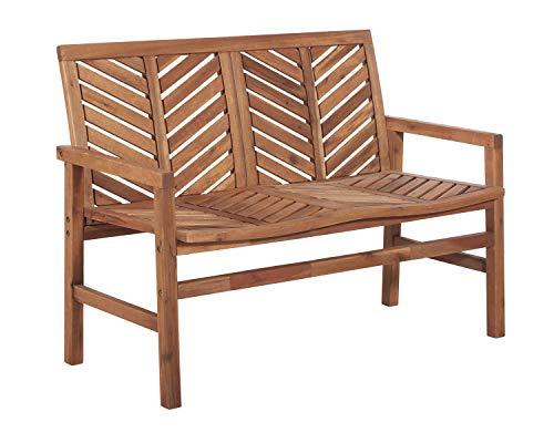 WE Furniture AZW48VINLSBR Outdoor Patio Solid Wood Chevron Loveseat, Brown