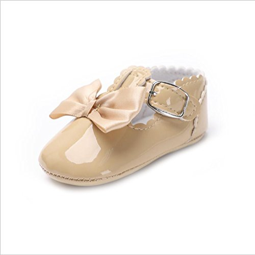 Vlunt Baby Mädchen Kleinkind Schuhe Kunstleder T-Strap Bowknot Schuhe Prinzessin Party Schuhe Khaki