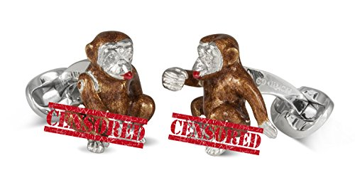 Deakin & Francis Naughty Monkey Cufflinks '' Cheeky Monkey '' With Diamond Eyes by Deakin and Francis