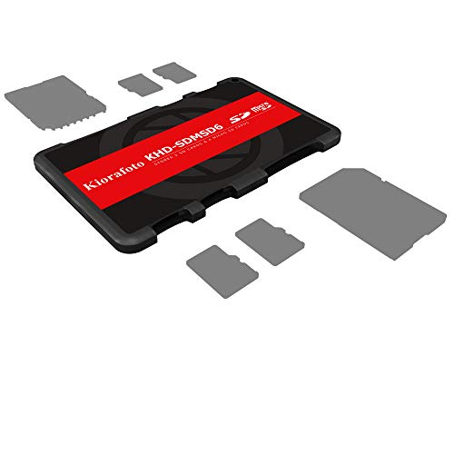- Kiorafoto KHD-SDMSD6 Slim Credit Card Size Portable Memory Card Case for 2 SD Cards and 4 Micro SD Cards