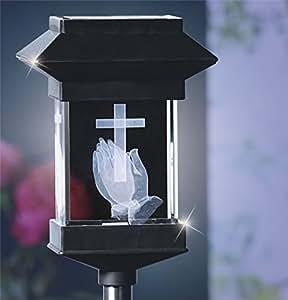 """14""""solar LED luz de cristal Memorial 3d–Manos Rezando"""