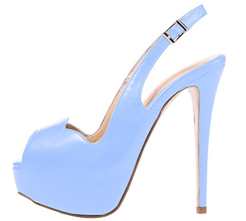 Escarpins Aooar Femmes Escarpins Hauts Talons Avec Plateforme Cachée Bleu Clair Pu