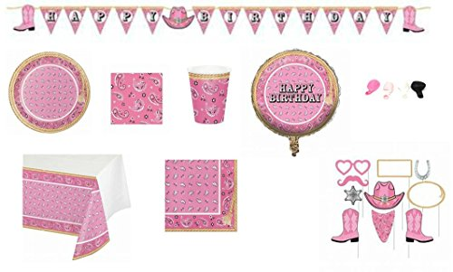 ShoppeShare Pink Disposable Party Tableware and Decorations Bandana Cowgirl Themed 9-Piece Bundle, Serves 8 (Plates/Napkins/Cups/Tablecloth/Decorations) -