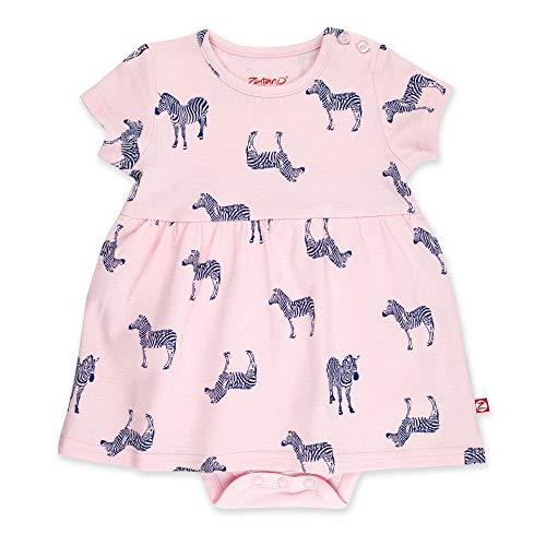 (Zutano Baby Girl Organic Cotton Summer Dress, Pink Zebra/Romper, 6M)