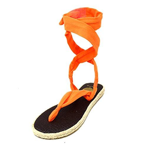 Nalho Kvinnor Yogamatta Espadriller Sandaler, Karabi Apelsin