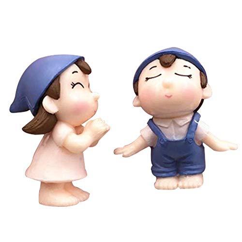 yingyue 2Pcs Cute Lovers Boy Girl Miniature Landscape Garden Bonsai Dollhouse Decoration