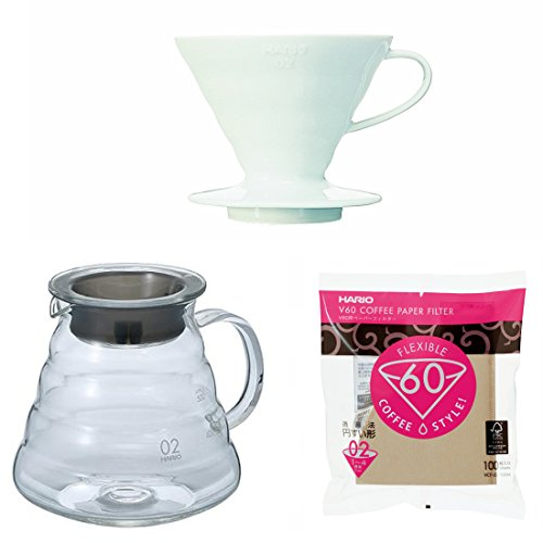 Hario V60 Series Glass Kettle, Dripper with Measuring Spoon & 100 Paper Filters Sold Together