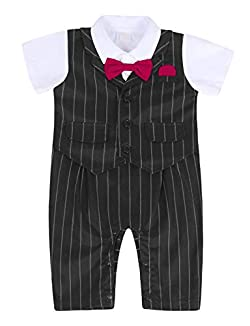 MetCuento Baby Boys' One-Piece Rompers Short Sleeve Bow Tie Onesie Formal Suit Gentleman Wedding Outfit