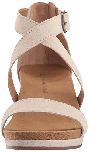 Lucky Brand Women's Lk-Kenadee Wedge Sandal, Brindle Oiled Suede, Medium Sandshell