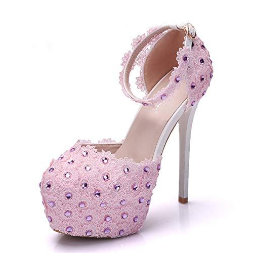 six heel drill shoes Flowers high fashion heel super temperament bride Thirty LBTSQ lace fine shoes sandals wedding z1qxpwapB