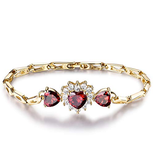 GULICX Women's Bridal Red Bracelet Chain Gold Electroplated Heart Love Ruby Color Prong Zircon ()