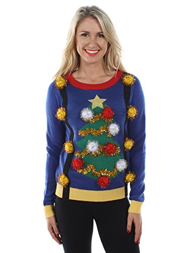 Tipsy Elves Women's Tacky Christmas Sweater - Christmas Tree Sweater with Suspenders M