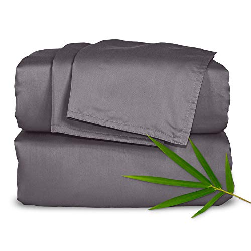 "Pure Bamboo Sheets - Queen Size Bed Sheets 4pc Set - 100% Organic Bamboo - Incredibly Soft - Fits Up to 16"" Mattress - 1 Fitted Sheet, 1 Flat Sheet, 2 Pillowcases (Queen, Stone Grey)"