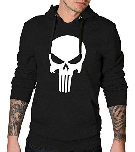 The Punisher Skull Hoodie - Black Mens Pullover Hoodie | Plain Logo, L
