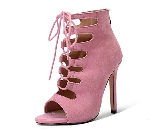 Zapatos Casual Boots para Black Straps Fashion Mujer caseros Rosado DANDANJIE Summer de Comfort Zapatos Hollow Boots Pink dPwFnpqW