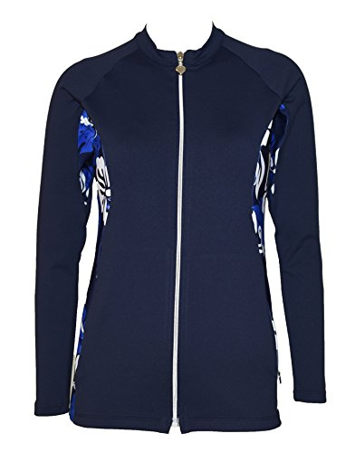 Private Island Hawaii Women UV Wetsuits Long Sleeve Rash Guard Top Zipper Jacket (XXX-Large, Navy with Blue White) ()