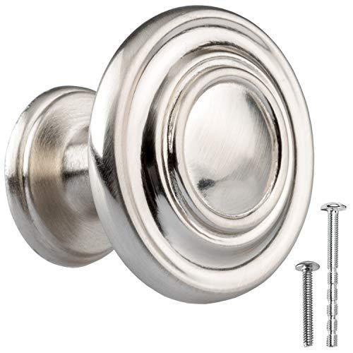 Satin Nickel Kitchen Cabinet Knobs - Round Ringed Drawer Handles - 10 Pack of Kitchen Cabinet Hardware