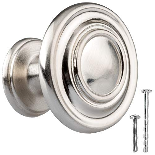 Satin Nickel Kitchen Cabinet Knobs - Round Ringed Drawer Handles - 10 Pack of Kitchen Cabinet Hardware (Dresser Long Cheap)