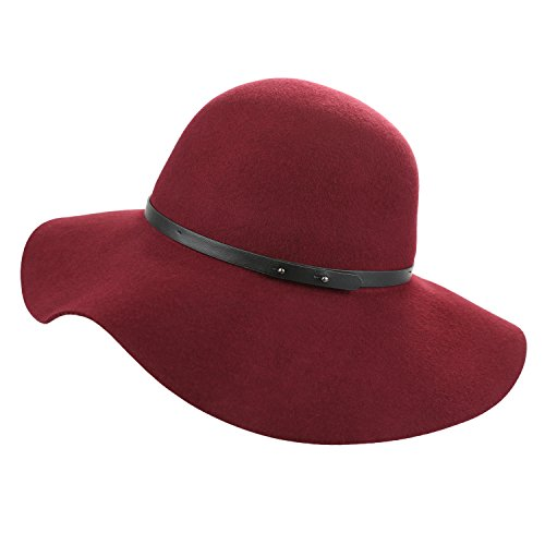 Large Hat Red Brim Wool (Sedancasesa Wide Brimmed 100% Wool Felt Floppy Hat Vintage Women Warm Triby Hats (Burgundy))