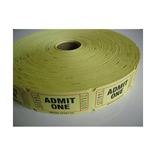 2000 Yellow Admit One Single Roll Consecutively Numbered Raffle Tickets Admit One Ticket Roll