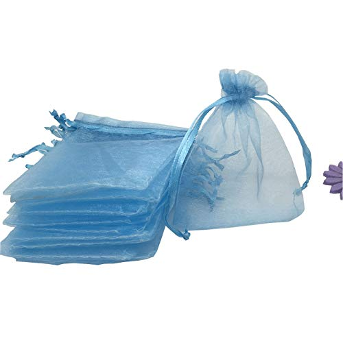 YIJUE 100pcs 4x5 Inches Drawstrings Organza Gift Candy Bags Wedding Favors Bags (Light Blue)
