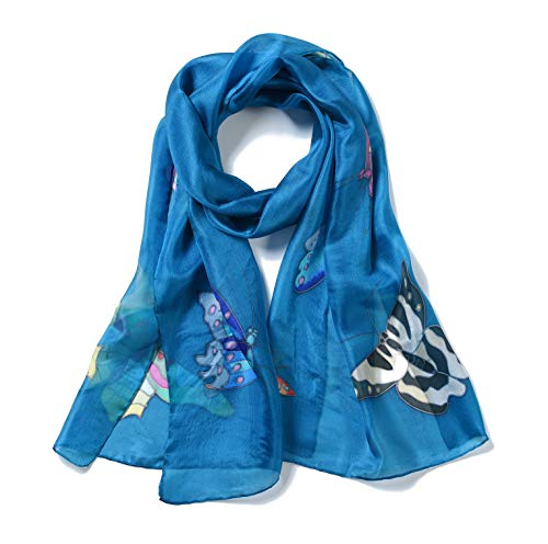 Invisible World Women's 100% Mulberry Silk Scarf Painted Butterfly French - Silk Painted Wrap Hand