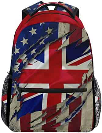 e95a4aae56c5 Stylish British English American Flag Backpack- Lightweight School College Travel  Bags