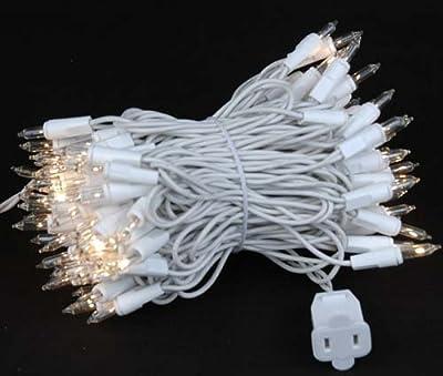 Novelty Lights, Inc. CG100-W Commerical Grade Christmas Mini Light Set, White Wire, 100 Light, 50' Long