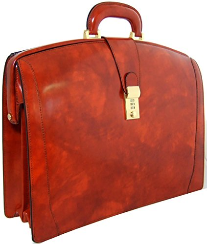 Pratesi Italian Leather Brunelleschi Triple Compartment Leather Lawyer's Briefcase, Brown