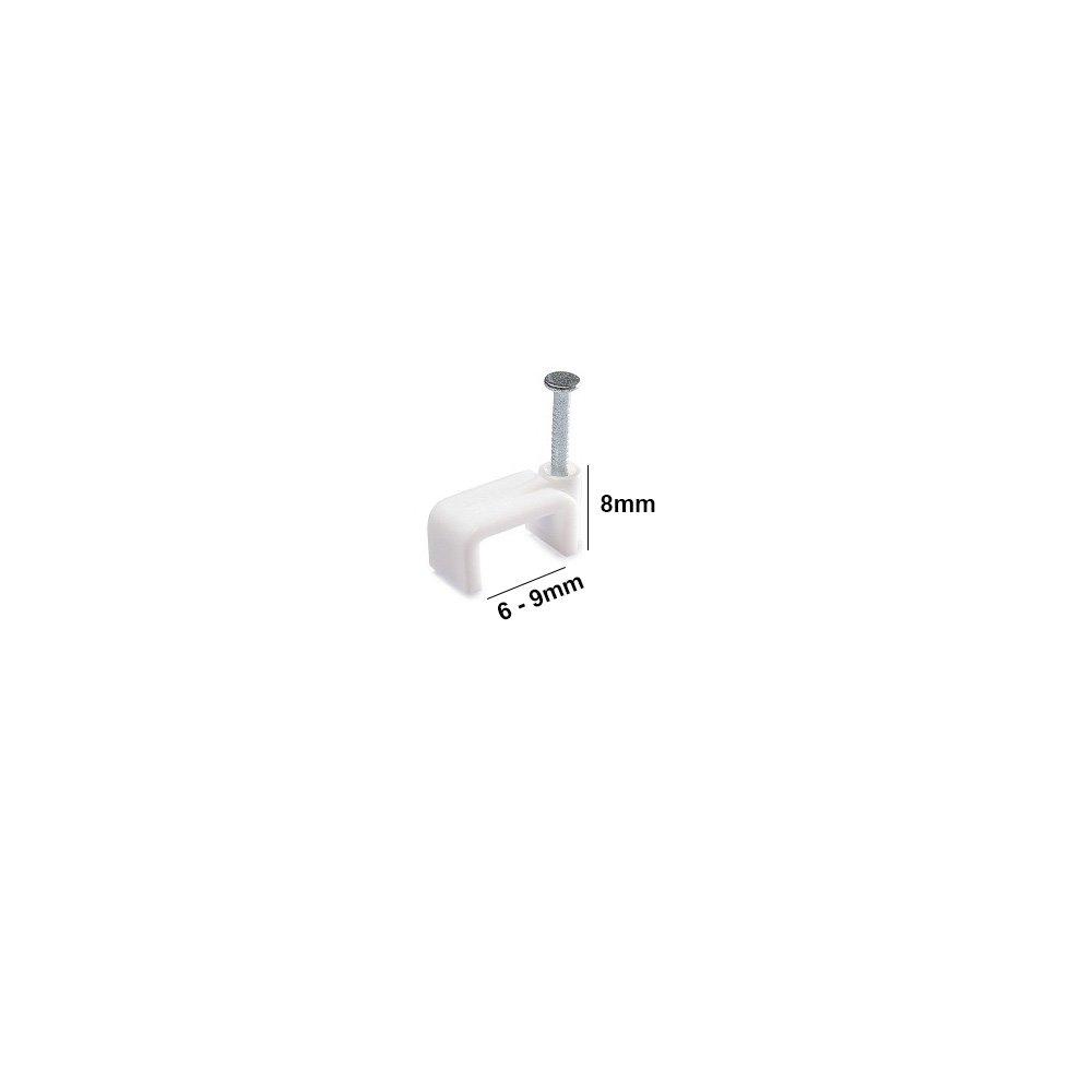 Kabelschellen Nagelschellen fü r Flachkabel 6 - 9 mm 100 Stü ck Kabelhalter PRITEX®