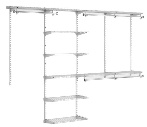 Rubbermaid Configurations Deluxe Custom Closet Organizer System Kit, 4-to-8-Foot, Titanium, FG3H8900TITNM