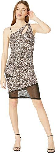 (bebe Womens One Shoulder Keyhole Mesh Mixed Dress Leopard SM)