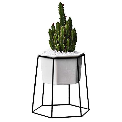 Flower Pots Indoor,Yousun 6.69 inch Modern Design White Ceramic Succulent Planter Pot with Metal Stand for Succulent Plants/Mini Cactus/Air Plant (White-Black)