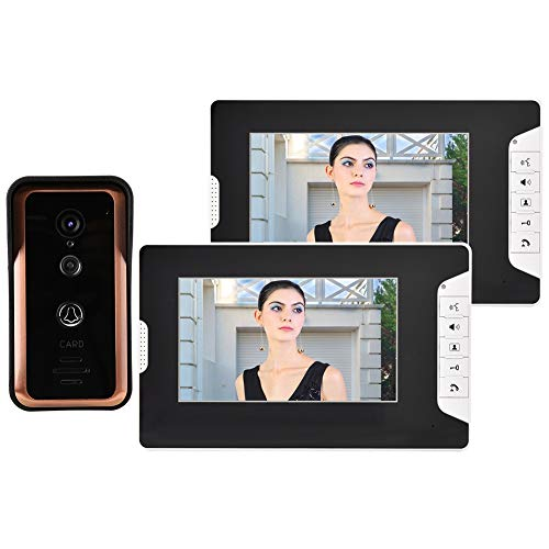 Pokerty Wired Video Doorbell, 100-240V 7inch TFT Color Screen WiFi Wired Video Doorbell Wall-Mounted 1 Visual Intercom Camera Monitors(US Plug) ()