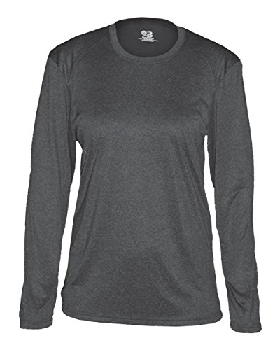 Carbon Pro Heather Ladies Wide Neck Small Performance Sports Long Sleeve Wicking Jersey/Shirt