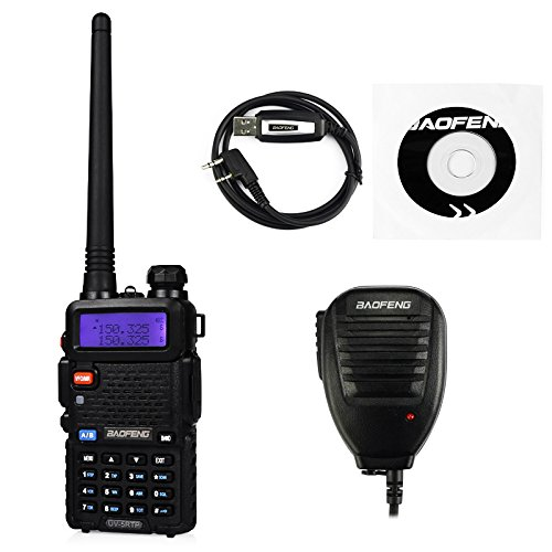BaoFeng UV-5RTP Tri-Power 8/4/1W Two-Way Radio Transceiver (UV-5R Upgraded Version with Tri-Power), Dual Band 136-174/400-520MHz True 8W High Power Two-Way Radio + 1 Remote Speaker + 1 Programming Cable