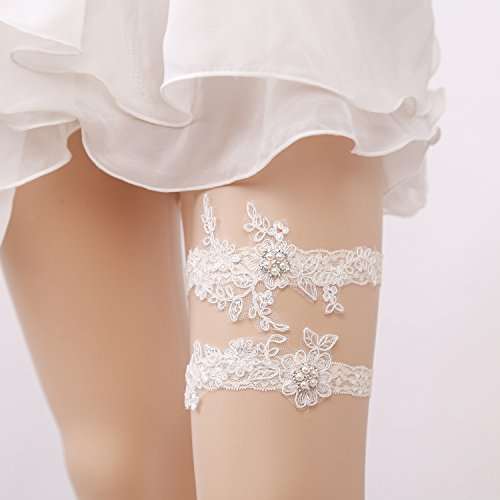 Lace Wedding Garter Set for Bride with Lucky Charms, Ivory accessories, Strech 16-23inch (Wedding Inspired Vintage Garter)