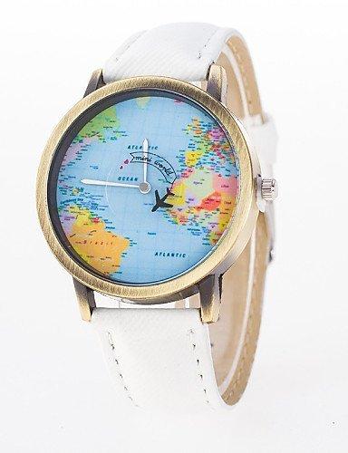 PEISHI J relojes de la mujer del mapa plano del mundo ven la personalidad puntero móvil de segunda mano reloj de cuarzo retro roma , white-for lady: ...