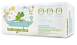 Babyganics Swim Diapers, Large, White, green