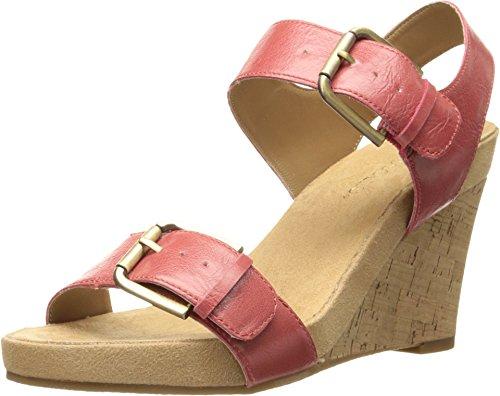 Slingback Cork Wedge Sandal (Aerosoles Women's Mega Plush Wedge Sandal, Coral, 8.5 M US)